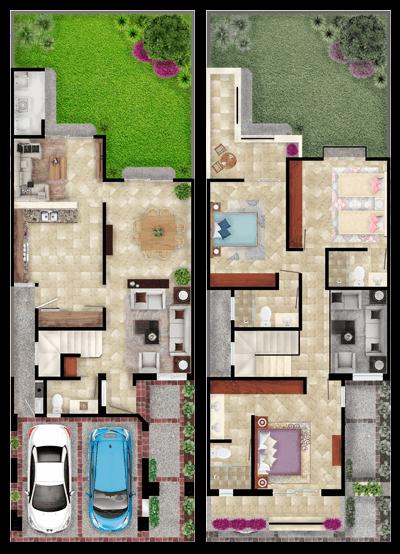 Casas en León, Gto. Mayorazgo Santa Elena, modelo Bilbao, distribución.