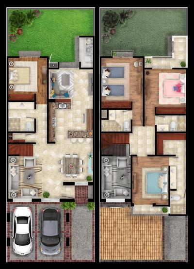 Casas en León, Gto. Mayorazgo Santa Elena, modelo Cantabria, distribución.