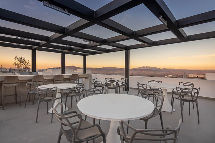 Terraza de casa club de fraccionamiento Antalia en Querétaro