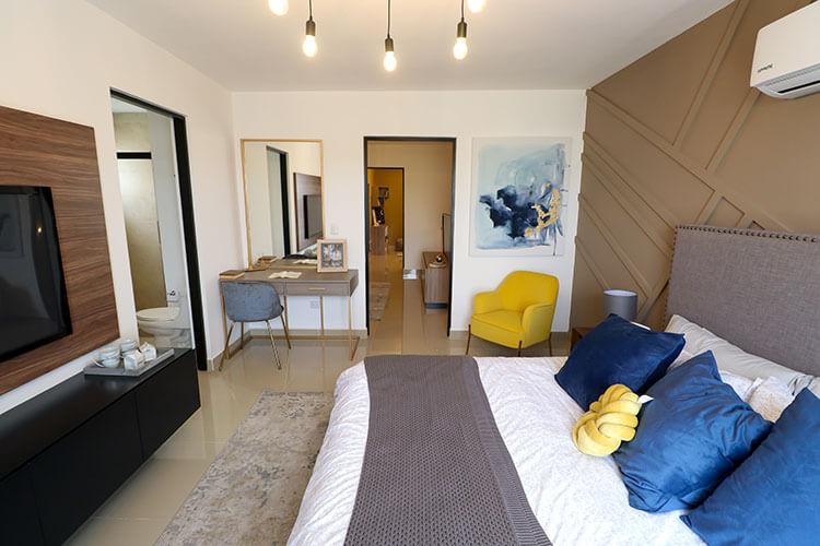 Recámara principal de casa modelo Ibiza VI en Kebana Residencial.