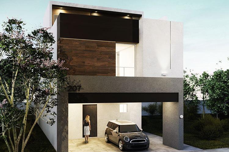 Casa en venta en Apodaca modelo Attena en Monetta Residencial, fachada 4.