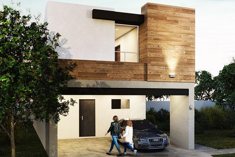 Casa en venta en Apodaca modelo Viana en Monetta Residencial, fachada 3.