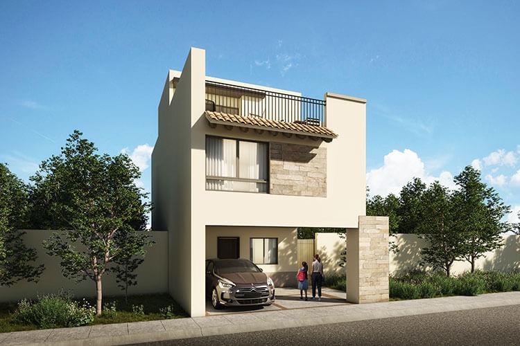 Casa en venta en León modelo Ibiza en Mayorazgo Santa Elena, fachada 2.