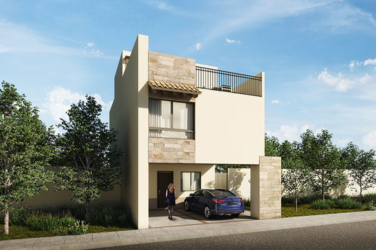 Casa en venta en León modelo Ibiza en Mayorazgo Santa Elena, fachada 3.