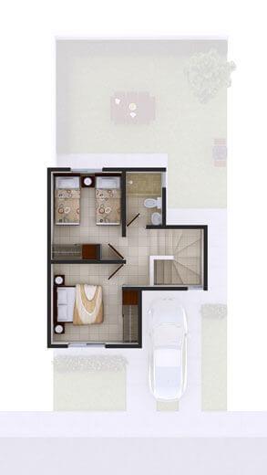 Distribución de planta alta de casa en venta en Juárez, Nuevo León, modelo Marsella VII en Arcadia La Silla.