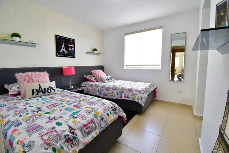 Recámara secundaria de casa en Guadalupe modelo Provenza en Paseo Amberes.