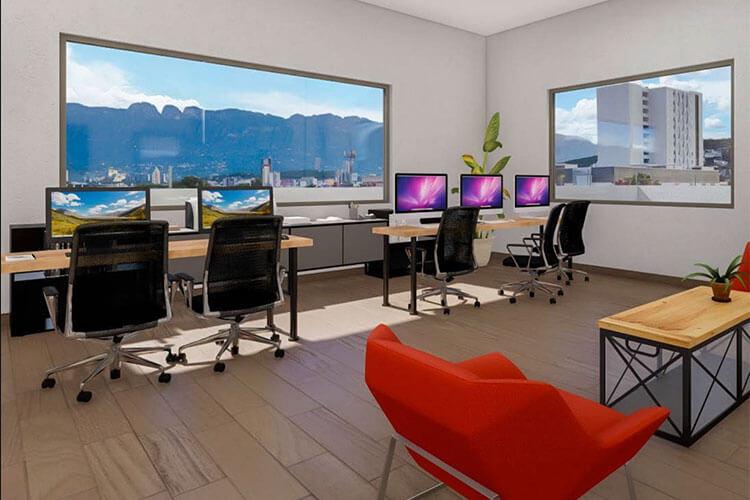 Área de Co Work en departamentos Las Residencias