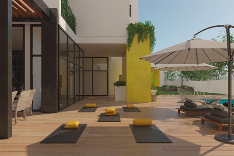 Área de yoga y pilates en torre El Lucero.