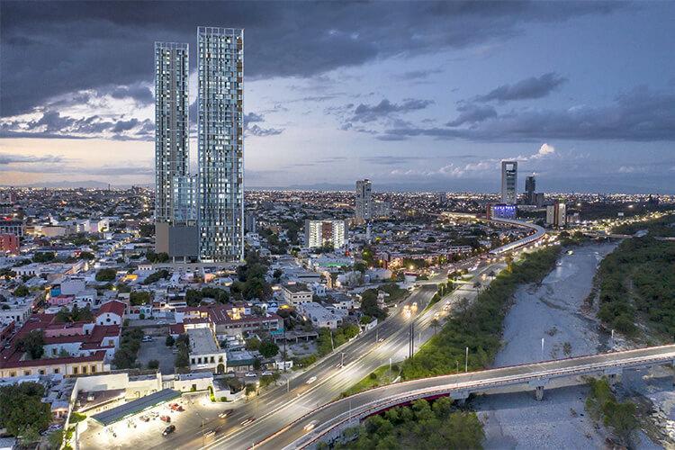 Vista aerea Torre Vía Zócalo en Monterrey centro
