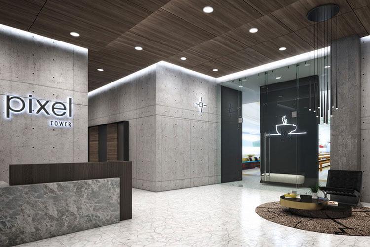 Lobby de torre Pixel en Monterrey