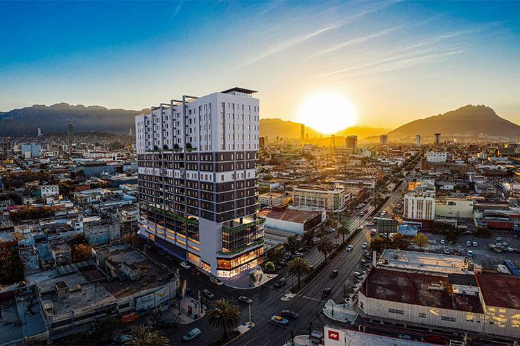 Vista poniente de la Torre Aria en Monterrey Centro