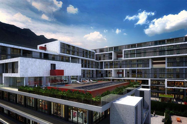 Terraza de torre de departamentos Alaia Cumbres Center